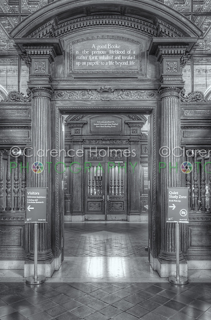 "The entrance to the Rose Main Reading Room in the main branch of the New York Public Library in New York City.  The quotation above the door is from John Milton's Areopagitica and reads ""A good Booke is the pretious lifeblood of a master spirit, embalm'd and treasur'd up on purpose to a life beyond life"" [sic]."
