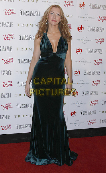 HEATHER MILLS..The 57th Annual Miss USA Competition held at the Planet Hollywood Hotel and Casino, Las Vegas, Nevada, USA, ..11 April 2008...full length long green maxi gown dress trainers cleavage velvet ..CAP/ADM/MJT..©MJT/Admedia/Capital Pictures