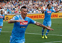 Napoli's  forward Marek Hamsik  celebrates after  scores against the Siena  during their Italian Serie A soccer match   at the San Paolo stadium in Naples.