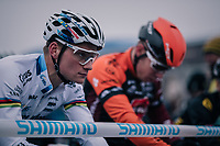 European CX Champion Mathieu van der Poel (NED/Corendon-Circus) focused at the race start<br /> <br /> CX World Cup Koksijde 2018