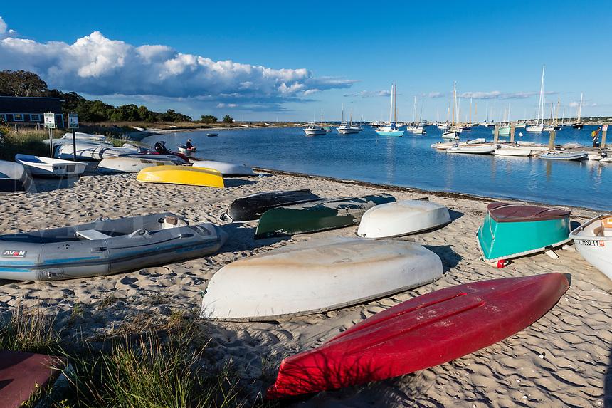 Rowboats and sailboats at Vineyard Haven harbor, Martha's Vineyard, Massachusetts, USA.