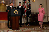 Washington, D.C. - July 19, 2005 -- President George W. Bush holds a press conference to announce his nominee of Judge John Roberts, joined by his wife Jane, son John and daughter Josephine, as his Supreme Court Judicial nominee to replace Justice Sandra Day O'Connor as the 109th Justice, at the White House. John, Josephine, wife Jane. .Credit: Shawn Thew - Pool
