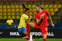 20200310  Calais , France : Brazilian Bruna Benites (4) and Canadian Janine Beckie (16) pictured during the female football game between the national teams of  Brasil and Canada on the third and last matchday of the Tournoi de France 2020 , a prestigious friendly womensoccer tournament in Northern France , on Tuesday 10 th March 2020 in Calais , France . PHOTO SPORTPIX.BE | DIRK VUYLSTEKE