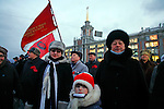 """Photo by Heathcliff Omalley..Yekaterinburg 7 November 2007.Die-hard Communists celebrate the """"Day of the Great October Revolution"""" once a public holiday, but now disregarded by the new regime..  Yekaterinburg was the site of the slaughter by Bolsheviks revolutionaries of the Tsar Nicholas and his family in 1918 and in the 1990's suffered from open Mafia warfare on it's streets but is now a thriving city once again."""