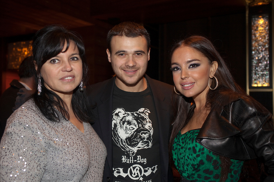 "Moscow, Russia, 07/03/2011..Azerbaijani rock singer Emin Agalarov with mother Irina and wife Leila Alieva, daugher of Azerbaijan President Ilkham Aliev. Agalarov has released 5 albums, and his first UK album ""Memory"" is due for release. He is also the commercial director of the Crocus International company, founded by his father Aras."