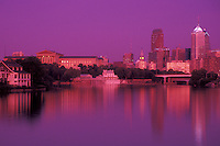 AJ4295, Philadelphia, downtown, skyline, sunset, Pennsylvania, Reflection of the downtown skyline and Philadelphia Museum of Art of Philadelphia along the Schuylkill River at sunset in the state of Pennsylvania. (blue/red filter)