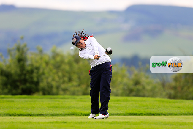 Mika Liu during Sunday Singles matches at the 2016 Curtis cup from Dun Laoghaire Golf Club, Ballyman Rd, Enniskerry, Co. Wicklow, Ireland. 12/06/2016.<br /> Picture Fran Caffrey / Golffile.ie<br /> <br /> All photo usage must carry mandatory copyright credit (&copy; Golffile   Fran Caffrey)