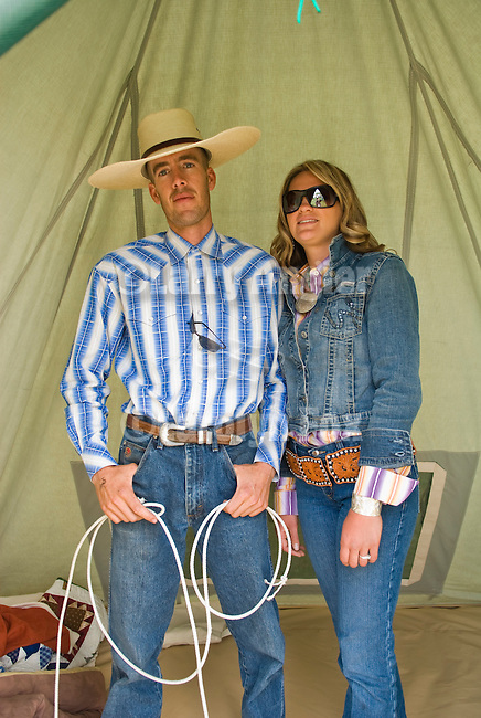 T.J. Carter and his wife Nicole Carter inside tentJordan Valley Big Loop Rodeo..