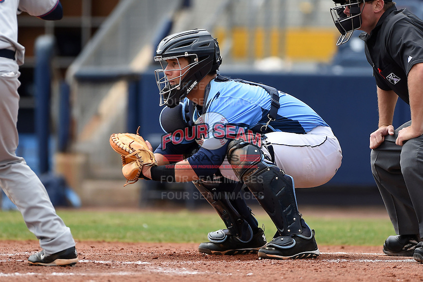 Charlotte Stone Crabs catcher Maxx Tissenbaum (19) waits for a pitch during a game against the Fort Myers Miracle on April 16, 2014 at Charlotte Sports Park in Port Charlotte, Florida.  Fort Myers defeated Charlotte 6-5.  (Mike Janes/Four Seam Images)
