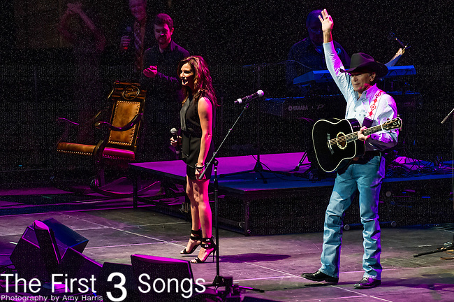 "George Strait and Martina McBride perform at the George Jones Tribute Concert ""Playin' Possum: The Final No Show"" at Bridgestone Arena in Nashville, TN"
