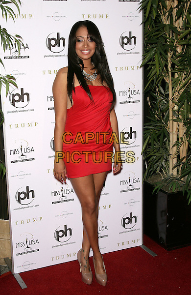 LALA VAZQUEZ.2010 Miss USA Pageant at the Planet Hollywood Resort Hotel and Casino, Las Vegas, Nevada, USA..May 16th, 2010.full length red mini dress beige shoes .CAP/ADM/MJT.© MJT/AdMedia/Capital Pictures.