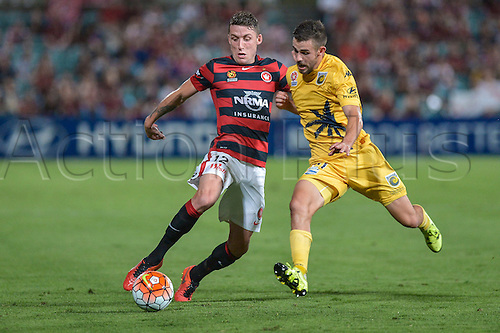 01.04.2016. Pirtek Stadium, Parramatta, Australia. Hyundai A-League. Western Sydney Wanderers versus Central Coast Mariners. Wanderers defender Scott Neville in action. The Wanderers won 4-1.
