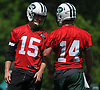 Josh McCown #15, New York Jets quarterback, left, chats with recently drafted signal caller Sam Darnold #14 during OTAs held at the Atlantic Health Jets Training Center in Florham Park, NJ on Tuesday, May 29, 2018.