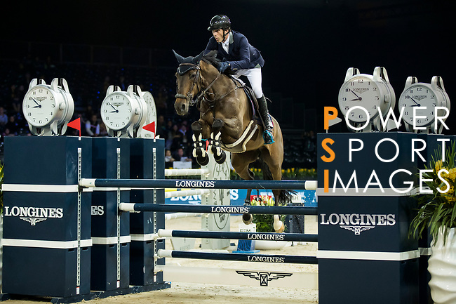 Vincent Bartin of France riding Caramba du Ruisseau Z competes in the Longines Speed Challenge during the Longines Masters of Hong Kong at AsiaWorld-Expo on 10 February 2018, in Hong Kong, Hong Kong. Photo by Ian Walton / Power Sport Images