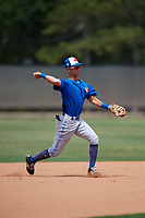 Toronto Blue Jays Kevin Vicuna (58) during warmups before a Minor League Spring Training game against the Philadelphia Phillies on March 30, 2018 at Carpenter Complex in Clearwater, Florida.  (Mike Janes/Four Seam Images)