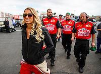 Feb 26, 2017; Chandler, AZ, USA; NHRA top fuel driver Leah Pritchett and crew during the Arizona Nationals at Wild Horse Pass Motorsports Park. Mandatory Credit: Mark J. Rebilas-USA TODAY Sports