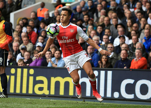 April 30th 2017, White Hart Lane, Tottenham, London England; EPL Premier League football Tottenham Hotspur versus Arsenal; Alexis Sanchez of Arsenal controls the ball