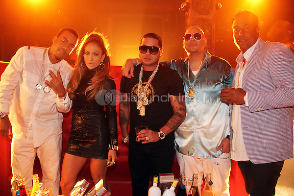 "NEW YORK, NY - SEPTEMBER 8: French Montana, Jennifer Lopez, Tempo, Fat Joe & Jimmy Rodriguez on the set of the video shoot for ""Stressin"" September 8, 2014 in New York City. Credit: Walik Goshorn/MediaPunch"