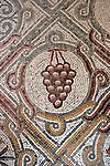 Jerusalem, Israel, The 5th century Byzantine mosaic at the Church of Dominus Flevit on the Mount of Olives depicting grapes<br />