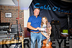 Maddie Courtney from Waterville wins the 'Voice of Cable O'Leary's 2017' pictured here receiving her Winners Cheque for €500 from Kevin O'Sullivan.
