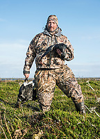 Outfoorlife Editor John Snow after a brant waterfowl hunt in Cold Bay, Alaska, Monday, October 31, 2016. The Izembek National Wildlife Refuge lies on the northwest coastal side of central Aleutians East Borough along the Bering Sea and Cold Bay. <br /> <br /> Photo by Matt Nager