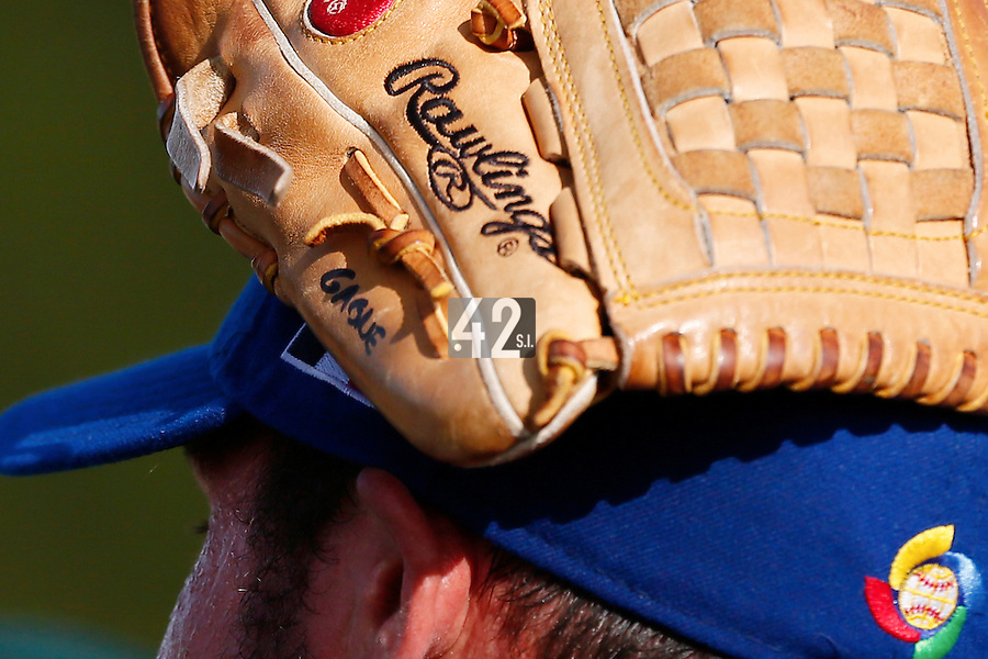 19 September 2012: Close view of pitching coach Eric Gagne cap following Team France friendly game against Palm Beach State College, during the 2012 World Baseball Classic Qualifier round, in Lake Worth, Florida, USA.