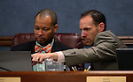 Nevada Senate Democrats Aaron Ford, left, and Justin Jones work in committe at the Legislative Building in Carson City, Nev., on Friday, Feb. 22, 2013..Photo by Cathleen Allison