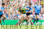 Stephen O'Brien Kerry in action against Michael Darragh Macauley Dublin in the All Ireland Senior Football Semi Final at Croke Park on Sunday.