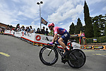 EF Education First riders head out for a practice run before Stage 1 of the 2019 Giro d'Italia, an individual time trial running 8km from Bologna to the Sanctuary of San Luca, Bologna, Italy. 11th May 2019.<br /> Picture: Fabio Ferrari/LaPresse | Cyclefile<br /> <br /> All photos usage must carry mandatory copyright credit (© Cyclefile | Fabio Ferrari/LaPresse)
