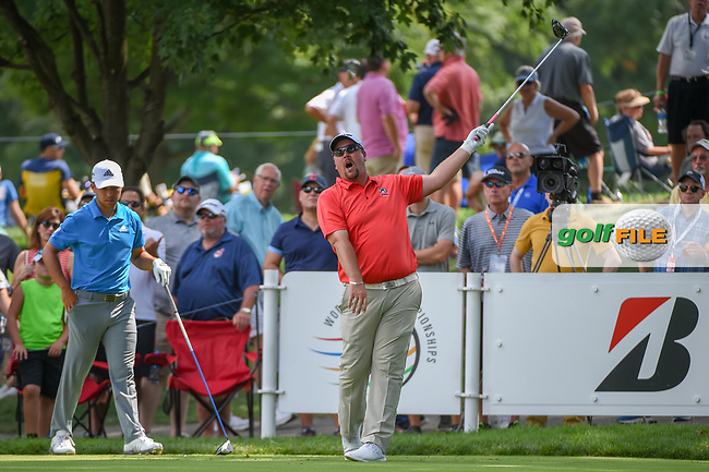 Jaco Ahlers (RSA) watches his tee shot on 18 during 2nd round of the World Golf Championships - Bridgestone Invitational, at the Firestone Country Club, Akron, Ohio. 8/3/2018.<br /> Picture: Golffile | Ken Murray<br /> <br /> <br /> All photo usage must carry mandatory copyright credit (© Golffile | Ken Murray)