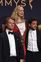 LOS ANGELES - SEP 22:  Alfie Allen, Gwendoline Christie, Kit Harrington at the Emmy Awards 2019: PRESS ROOM at the Microsoft Theater on September 22, 2019 in Los Angeles, CA