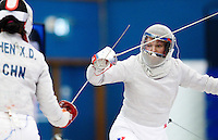27 FEB 2011 - LONDON, GBR - Russia's Svetlana Kormilitsyna during the final of fencing's England Cup sabre tournament against China at  the National Sports Centre at Crystal Palace .(PHOTO (C) NIGEL FARROW)
