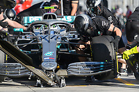 March 15, 2019: Mechanics practise a pit stop for Valtteri Bottas (FIN) #77 from the Mercedes AMG Petronas Motorsport team during practice session two at the 2019 Australian Formula One Grand Prix at Albert Park, Melbourne, Australia. Photo Sydney Low