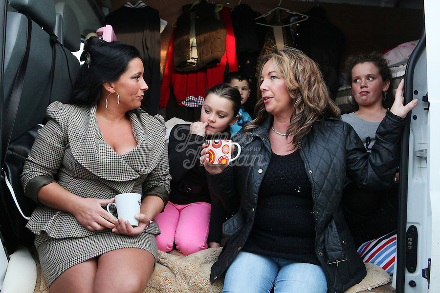 2/10/2010. Travelers Marie Stokes, Noreen Mullane, Eileen Stokes 10, Phil Stokes 10 and Maria Stokes 13 from Limerick are pictured in their caravan at the Ballinasloe Horse Fair, Ballinasloe County Galway, Ireland. Picture James Horan