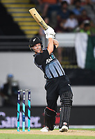 Ben Wheeler hits a 6.<br /> Pakistan tour of New Zealand. T20 Series.2nd Twenty20 international cricket match, Eden Park, Auckland, New Zealand. Thursday 25 January 2018. &copy; Copyright Photo: Andrew Cornaga / www.Photosport.nz