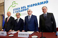 Antonio Patuelli Presidente of Italian Bank Association, Giovanni Tria Minister of Economy, Giuseppe Guzzetti President of Acri, Ignazio Visco President of Bank of Italy<br /> Roma 31/10/2018. ACRI. Giornata Mondiale del Risparmio 2018.<br /> Rome October 31st 2018. ACRI. World Saving Day 2018.<br /> Foto Samantha Zucchi Insidefoto