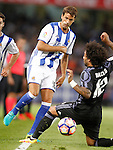 Real Sociedad's Xabi Prieto (l) and Real Madrid's Marcelo Vieira during La Liga match. August 21,2016. (ALTERPHOTOS/Acero)