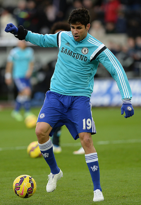 Chelsea's Diego Costa during the pre-match warm-up <br /> <br /> Photographer /Ashley CrowdenCameraSport<br /> <br /> Football - Barclays Premiership - Swansea City v Chelsea - Saturday 17th January 2015 - Liberty Stadium - Swansea<br /> <br /> &copy; CameraSport - 43 Linden Ave. Countesthorpe. Leicester. England. LE8 5PG - Tel: +44 (0) 116 277 4147 - admin@camerasport.com - www.camerasport.com