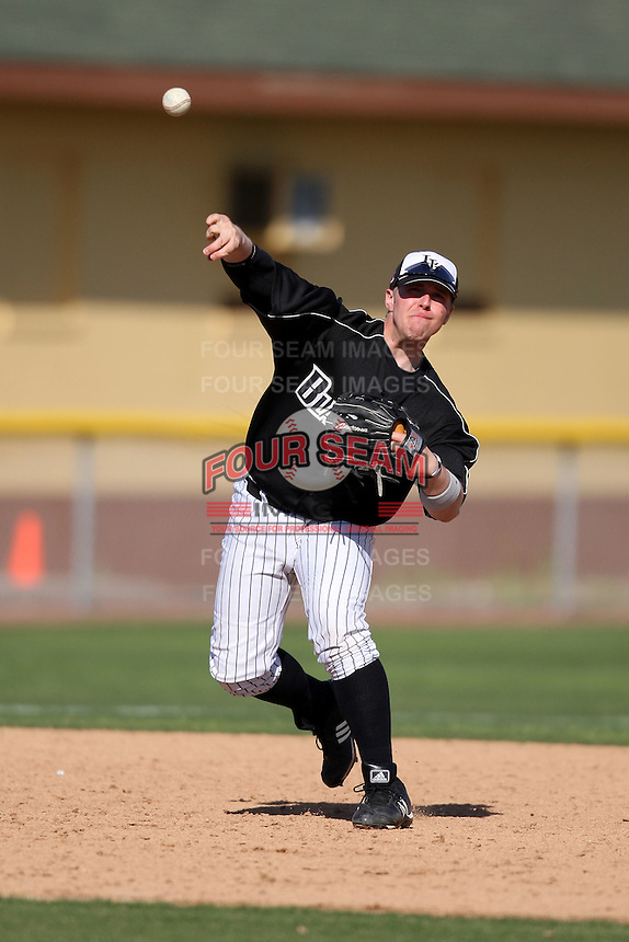 March 13, 2010:  Third Baseman Derek Stupski (15) of Long Island University Blackbirds in a game vs. Army at Henley Field in Lakeland, FL.  Photo By Mike Janes/Four Seam Images