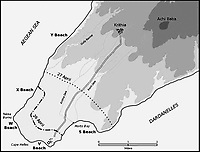 BNPS.co.uk (01202 558833)Pic: HistoryPress/Wikimedia/BNPS<br /> <br /> Cape Helles and beach landing area.<br /> <br /> The remarkable story of a humble street which was described by the king as 'the bravest in England' is told in a new book.<br /> <br /> The inhabitants of Chapel Street in Altrincham, Greater Manchester, displayed an unrivalled devotion of duty when Lord Horatio Kitchener made the rallying call for men to enlist in the First World War.<br /> <br /> From the tight-knit community of just 60 houses, a staggering 161 men volunteered - 81 of them on the first day.<br /> <br /> Tragically, however, 29 men from the street were killed in action, more than from any other street in England.