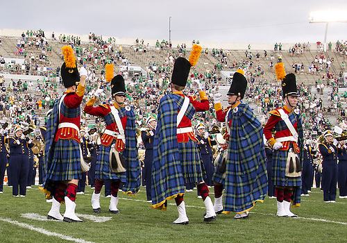August 31, 2013:  The Irish Guard performs as band performs after NCAA Football game action between the Notre Dame Fighting Irish and the Temple Owls at Notre Dame Stadium in South Bend, Indiana.  Notre Dame defeated Temple 28-6.