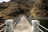 On top of the Dam and resevoir at Chejelepes, San Sebastian, La Gomera, Canary Islands, Spain