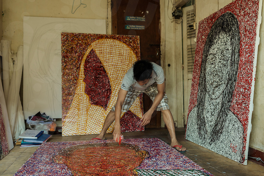One of most prominent Cambodian visual artist. He graduated at Phare Ponleu Selpak Visual Art School of Battambang in 2010 and now he's living and working in Phnom Penh.