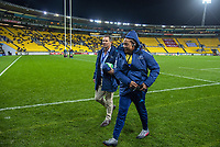 Blues coaches Leon McDonald (left) and Tana Umaga during the Super Rugby Aotearoa match between the Hurricanes and Blues at Sky Stadium in Wellington, New Zealand on Saturday, 18 July 2020. Photo: Dave Lintott / lintottphoto.co.nz