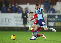 Michael Harriman of Wycombe Wanderers beats Jordan Clark of Accrington Stanley  to the ball <br /> during the Sky Bet League 2 match between Accrington Stanley and Wycombe Wanderers at the wham stadium, Accrington, England on 28 February 2017. Photo by Tony  KIPAX.