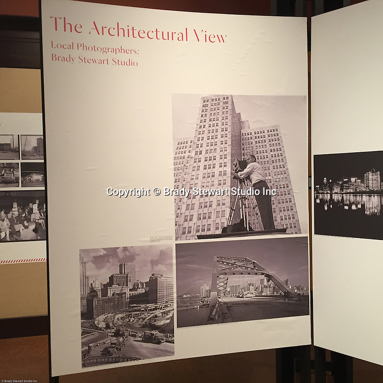 Pittsburgh PA:  View of the architectural view area of the Imaging for Modern exhibition inside the Carnegie Museum of Art - 2015.  View of Brady Stewart Jr. on an assignment for Ketchum McLeod and Grove in the new Gateway Center.  Photographs from the Brady Stewart Archives were used in the exhibition about Pittsburgh's architectural evolution 1945-1970.<br />