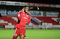Accrington Stanley's Offrande Zanzala celebrates after his successful penalty during the penalty shoot out<br /> <br /> Photographer Andrew Vaughan/CameraSport<br /> <br /> The EFL Checkatrade Trophy Second Round - Accrington Stanley v Lincoln City - Crown Ground - Accrington<br />  <br /> World Copyright &copy; 2018 CameraSport. All rights reserved. 43 Linden Ave. Countesthorpe. Leicester. England. LE8 5PG - Tel: +44 (0) 116 277 4147 - admin@camerasport.com - www.camerasport.com
