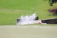 Soren Kjeldsen (DEN) chips from a bunker at the 13th green during Thursday's Round 1 of the 2017 PGA Championship held at Quail Hollow Golf Club, Charlotte, North Carolina, USA. 10th August 2017.<br /> Picture: Eoin Clarke | Golffile<br /> <br /> <br /> All photos usage must carry mandatory copyright credit (&copy; Golffile | Eoin Clarke)