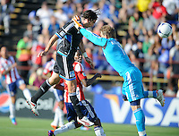 Santa Clara, Ca - Sunday, May 13, 2012: San Jose Earthquakes' Alan Gordan scores a goal to tie Chivas 1-1, at Buck Shaw Stadium during a regular season match.