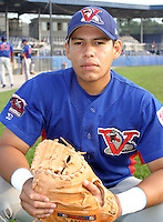August 15, 2003:  Catcher Salomon Manriquez of the Vermont Expos, Short Season Class-A affiliate of the Montreal Expos, during a NY-Penn League game at Dwyer Stadium in Batavia, NY.  Photo by:  Mike Janes/Four Seam Images